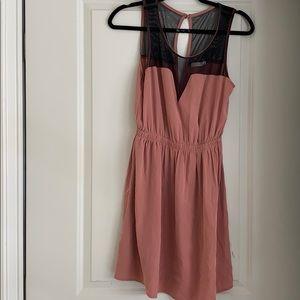 Brownish-blush dress with mesh